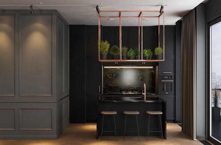 Interiér v čiernej farbe