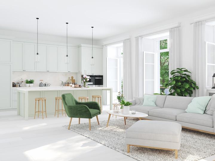 Otvorený priestor medzi kuchyňou a obývačkou