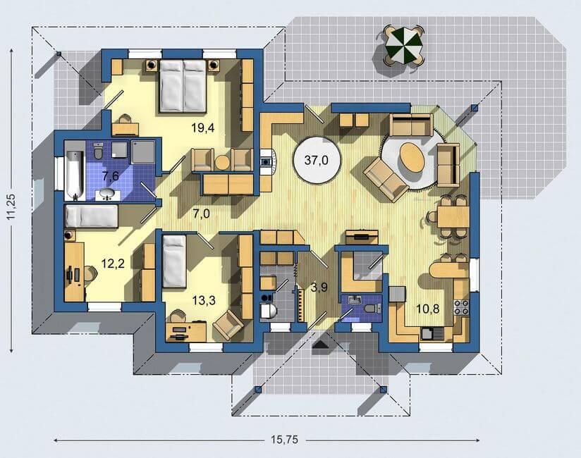 Rodinný dom Bungalov 068